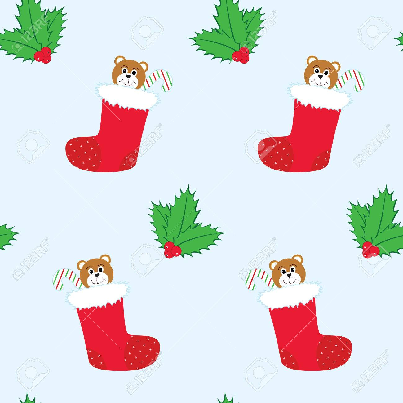 seamless tiling christmas background with stockings and holly