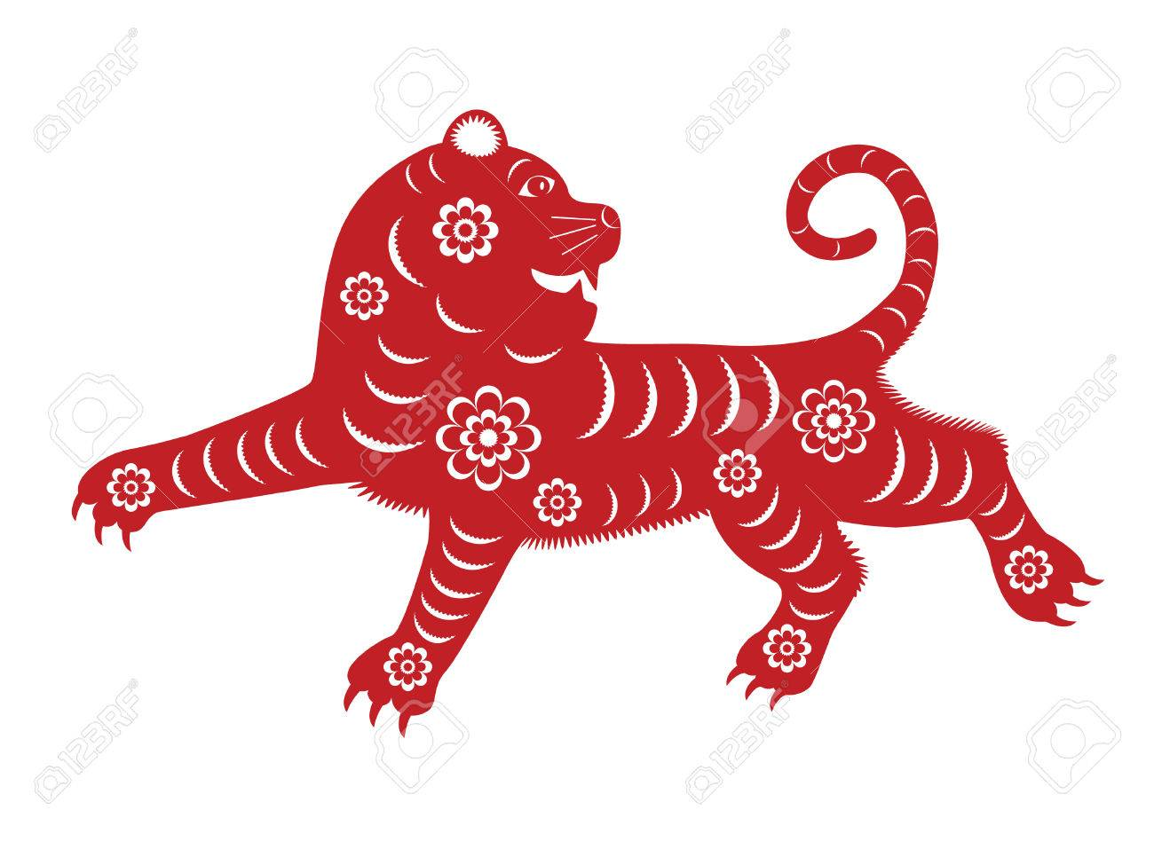 Isoliert Red Paper Cut Tiger Fur Chinese New Year 2010 Standard Bild