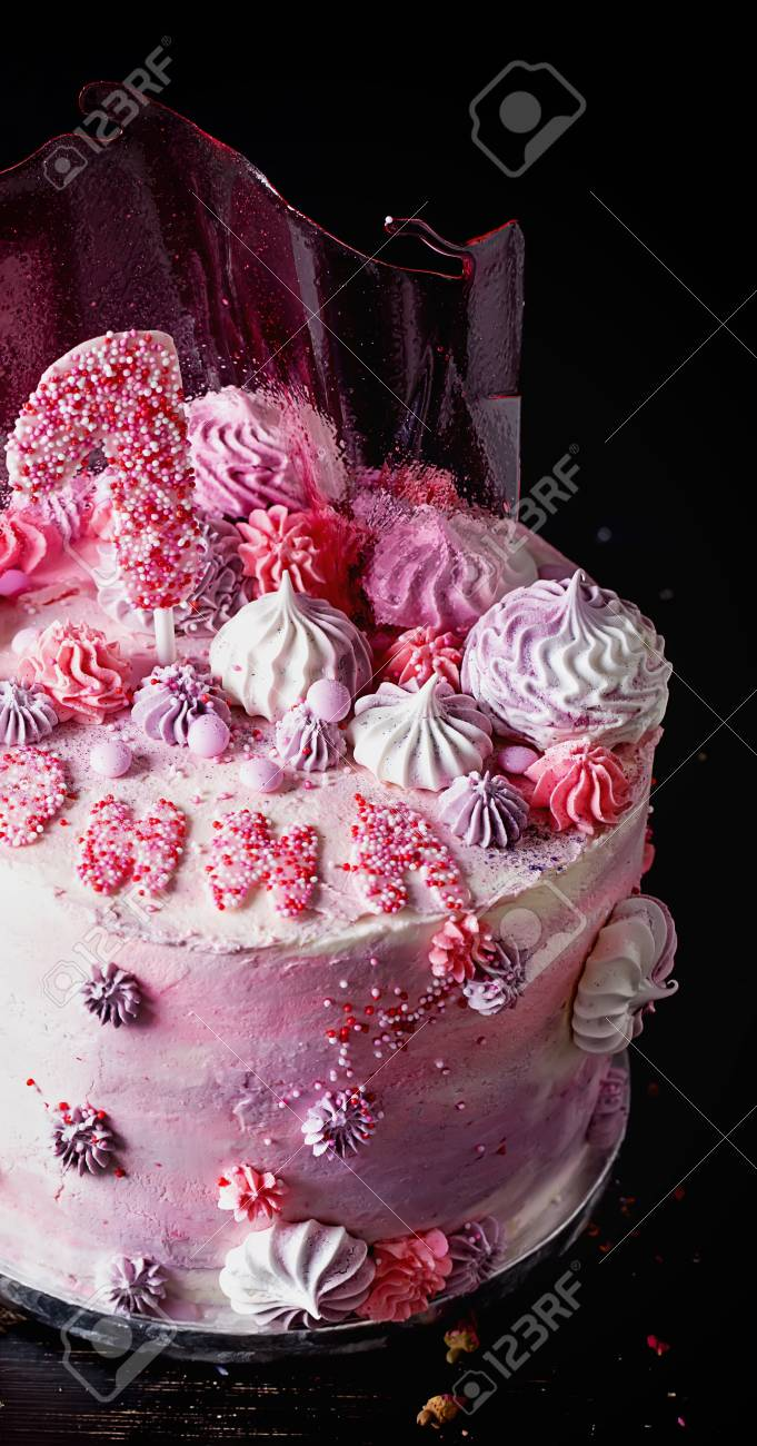 Pink And Violet Fancy Birthday Cake Decorated With Pink Caramel