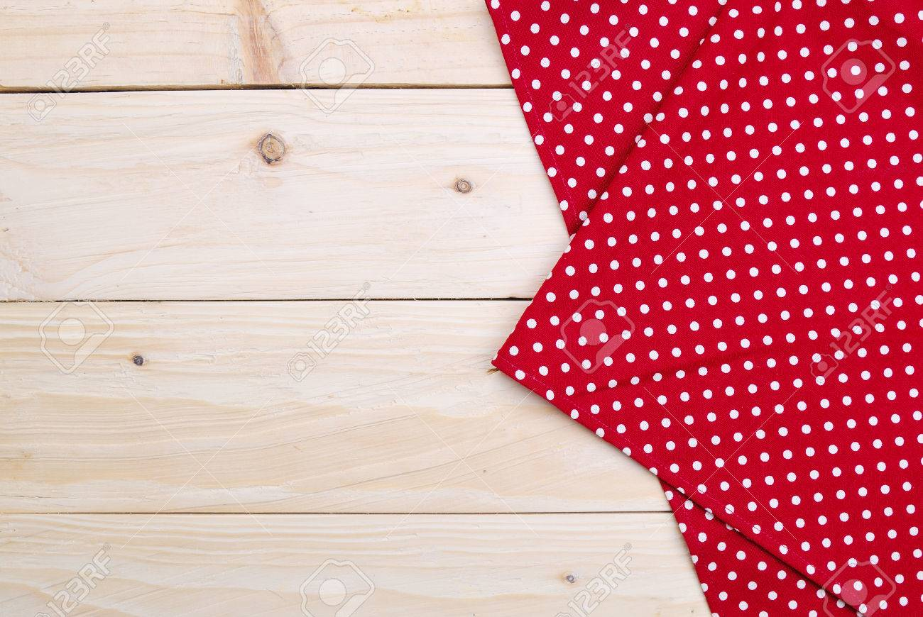 the background made from tablecloth on wooden table - 31324262