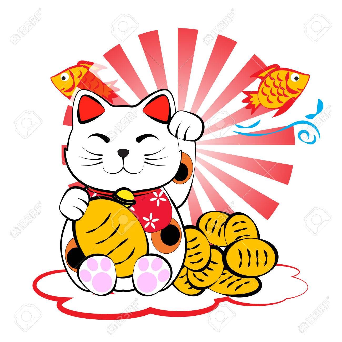 Japanese lucky cat meneki neko with gold and fish for lucky money and plentifully - 39554443