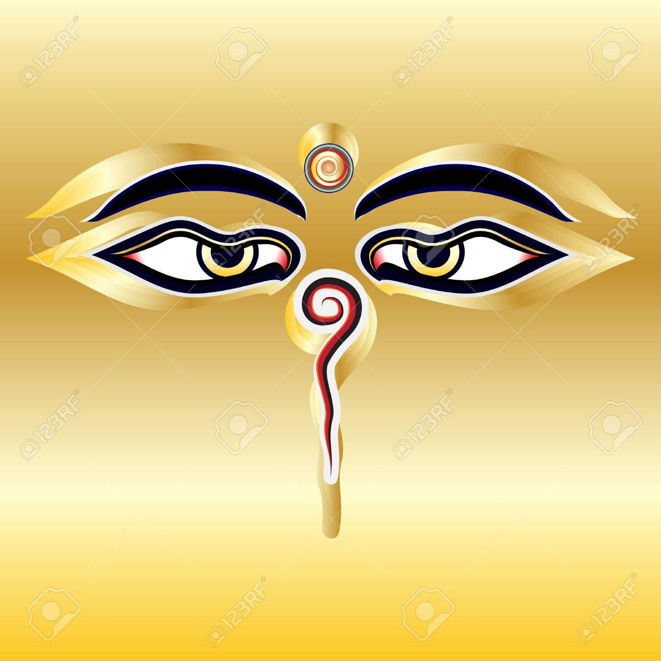 Traditional buddha eyes symbol wisdom eyes with gold background traditional buddha eyes symbol wisdom eyes with gold background stock vector 39554510 biocorpaavc Images