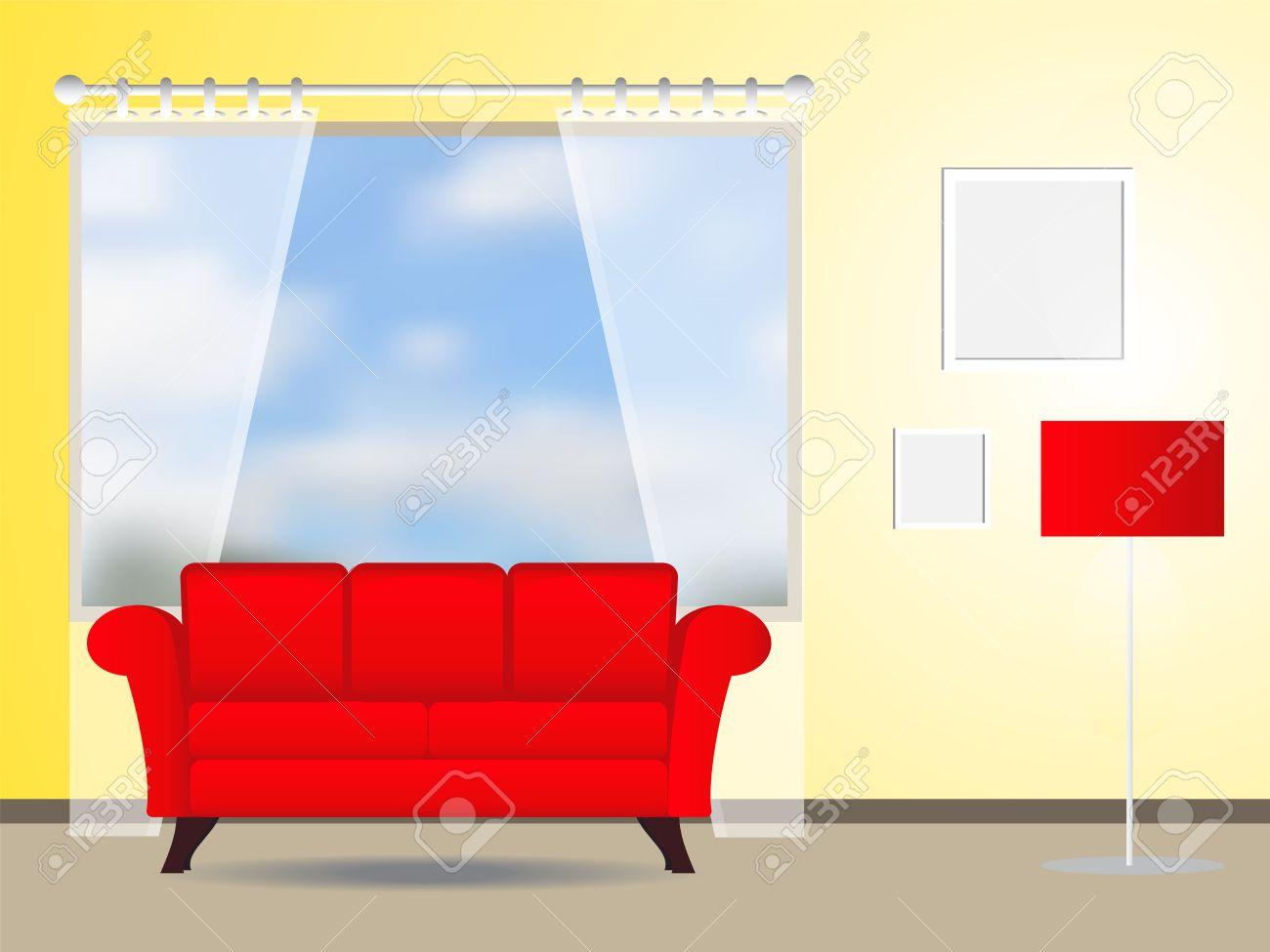 Vardagsrum med röd soffa vektorillustration royalty fri clipart ...