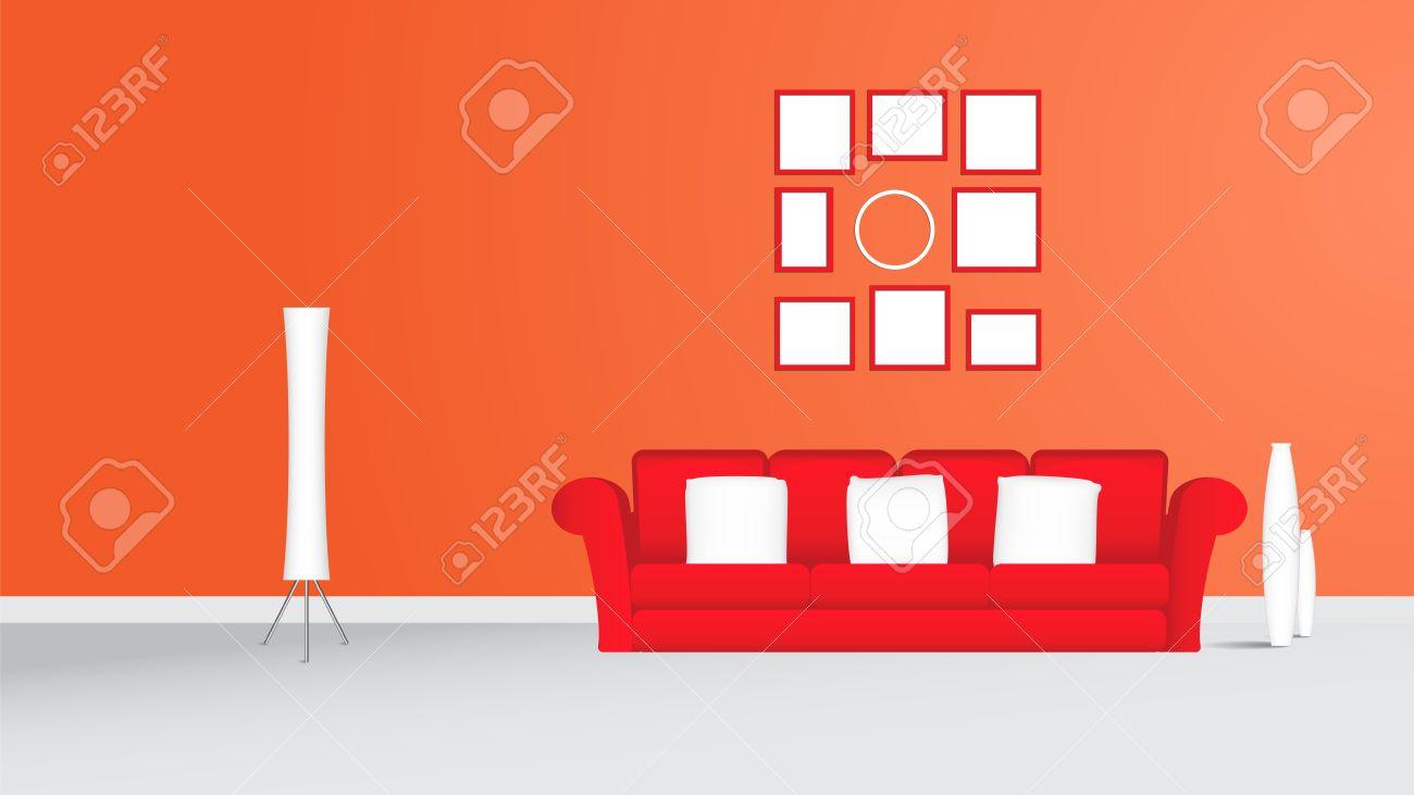 Wohnzimmer Mit Roten Sofa Bilderrahmen Und Weiße Lampe Orange Wand ...