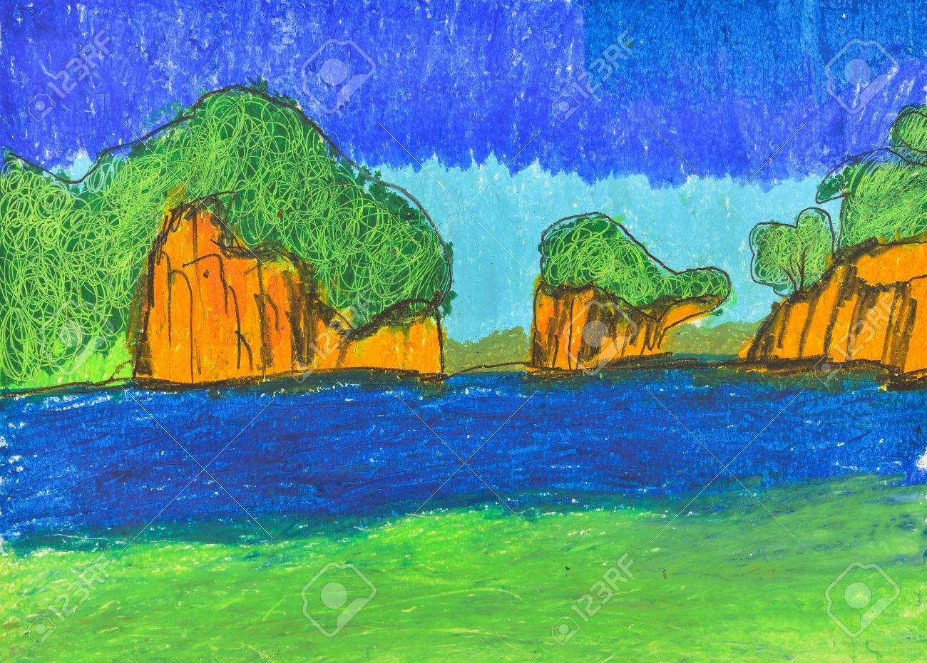 Isla Y El Mar Mano Libre Dibujo De Las Tecnicas De Color De Lapices