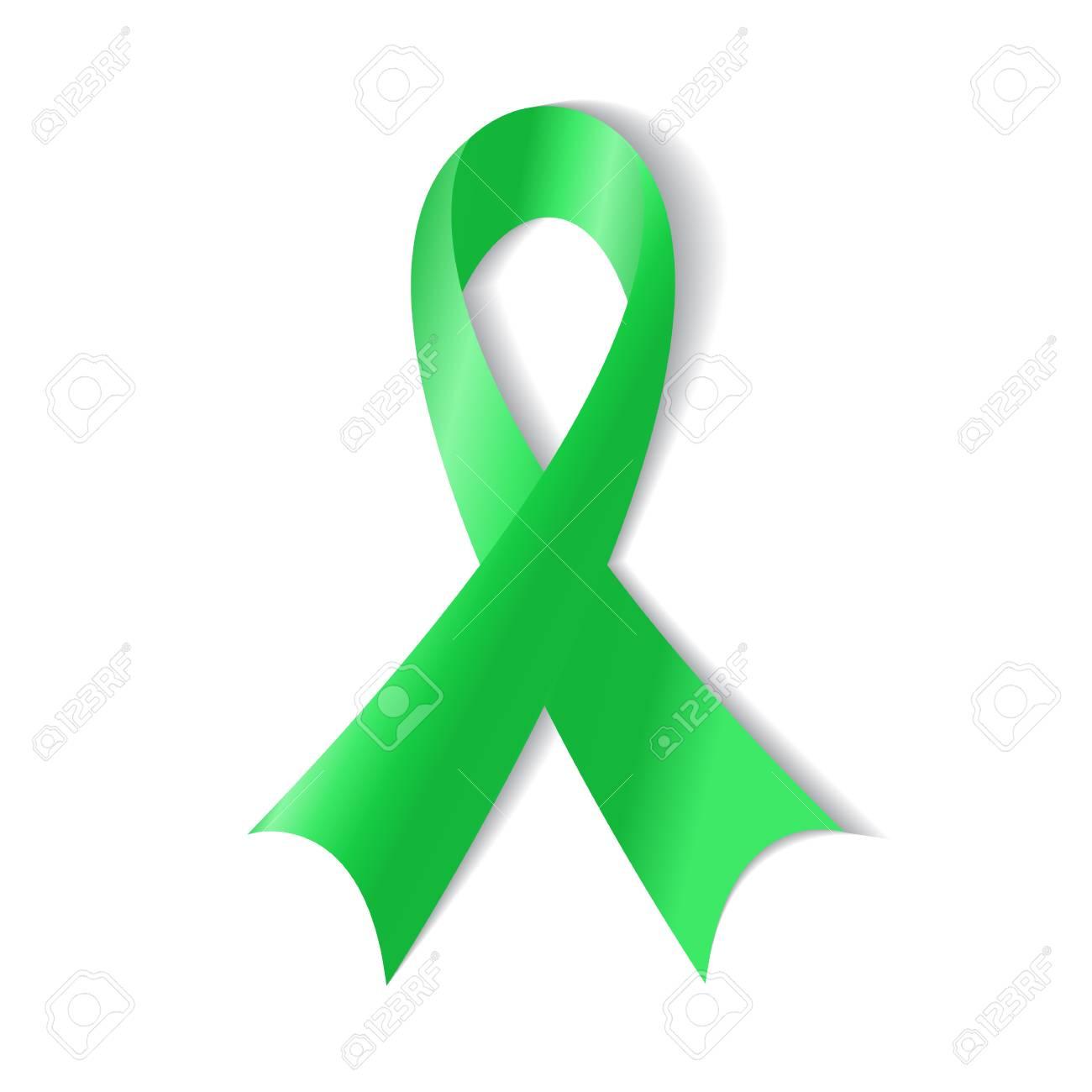 green ribbon kidney cancer awareness on white background