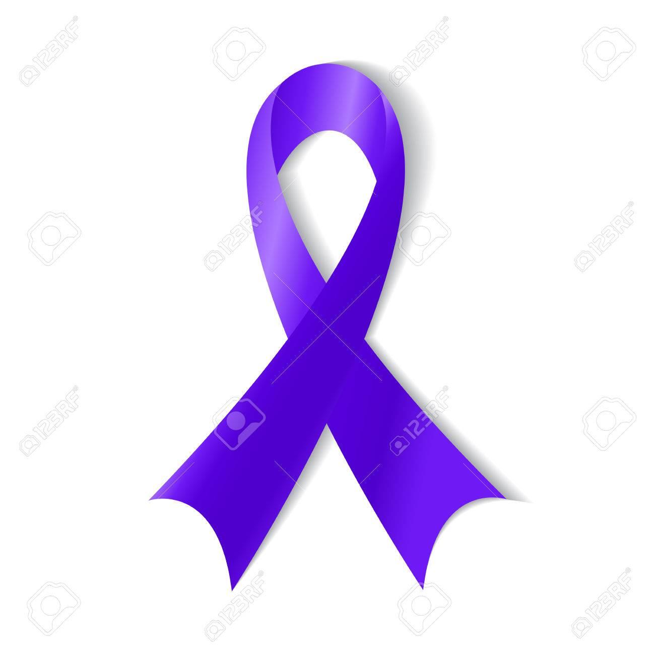 Purple Ribbon Symbol Of General Cancer Awareness Drug Overdose