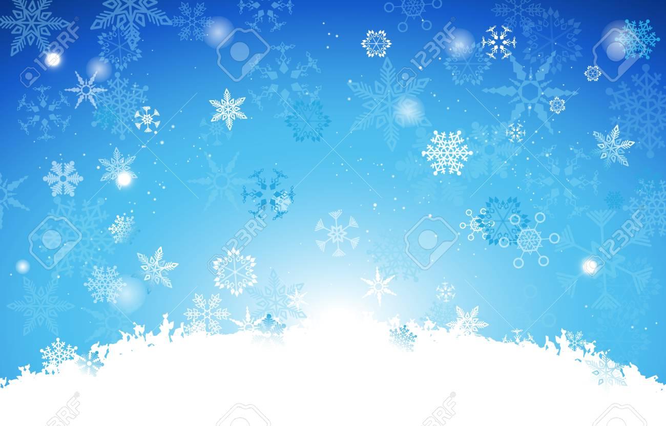 Blanco Y Degradado Azul Claro Fondo De Navidad Con Copos De Nieve En