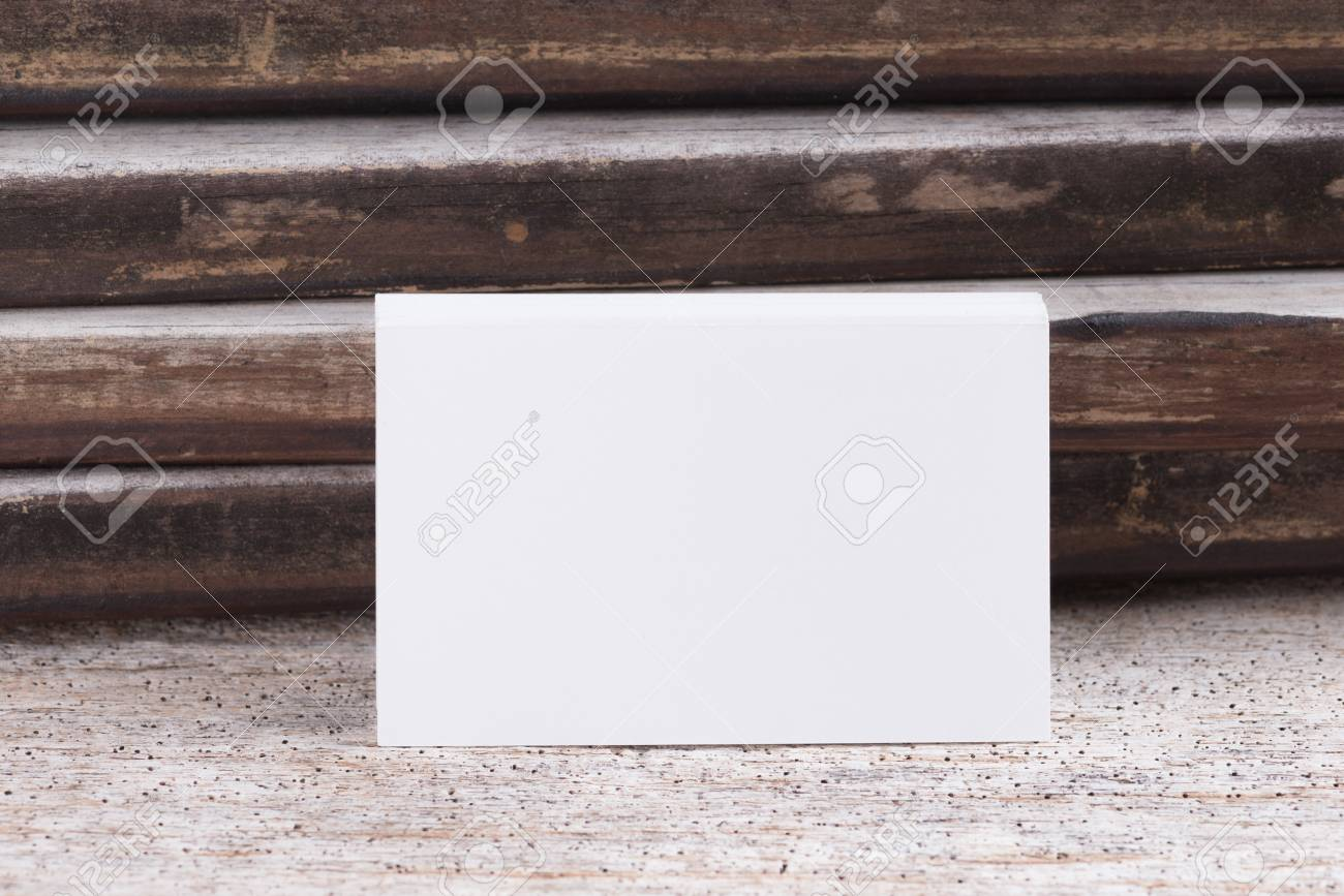 Business Card Blank On Wooden Background