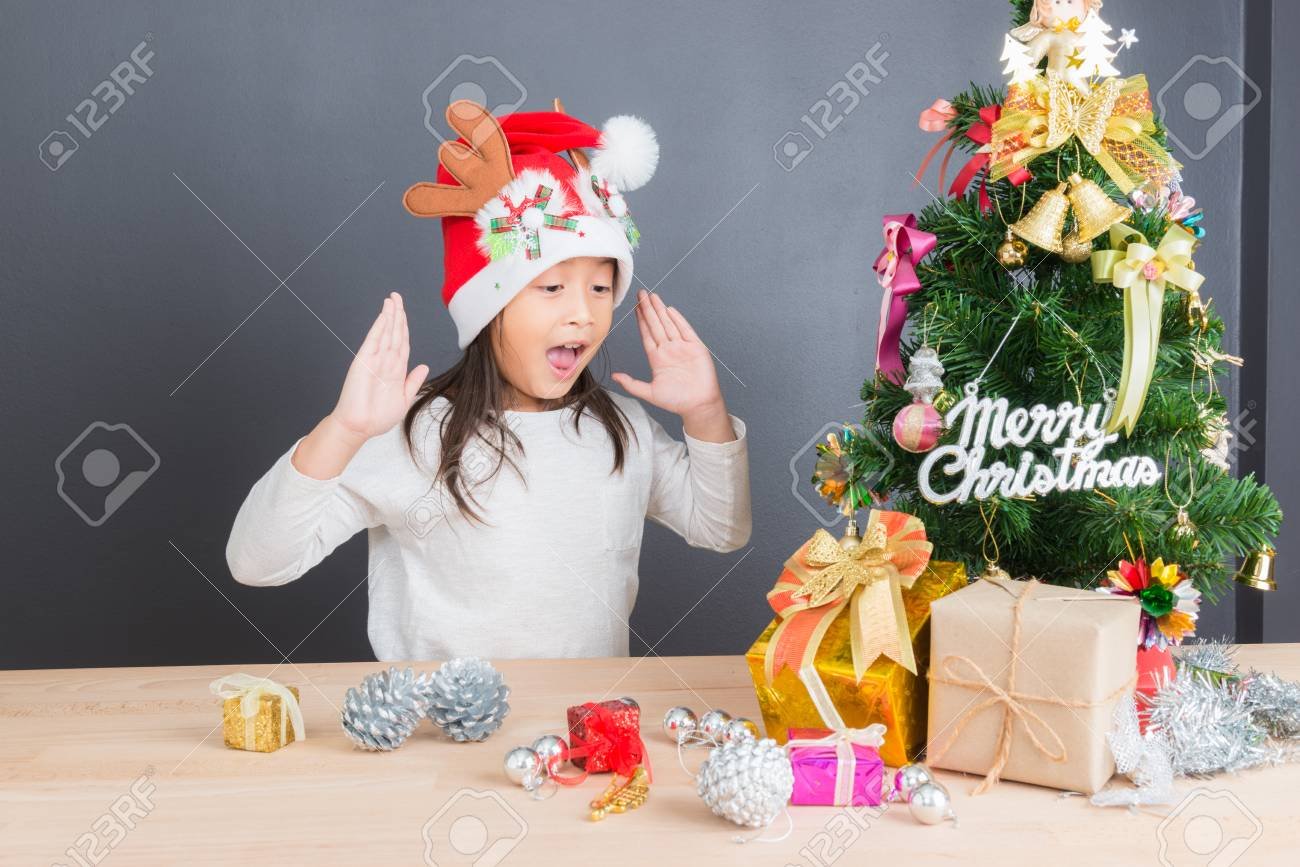 Happy Asian Thai Child Girl Age 6 Year With Christmas Gifts Near ...