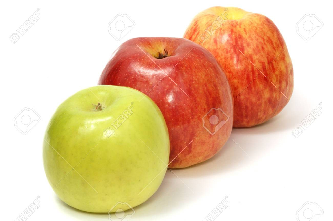 Line of three apples, red and green, on white background Stock Photo - 7400994