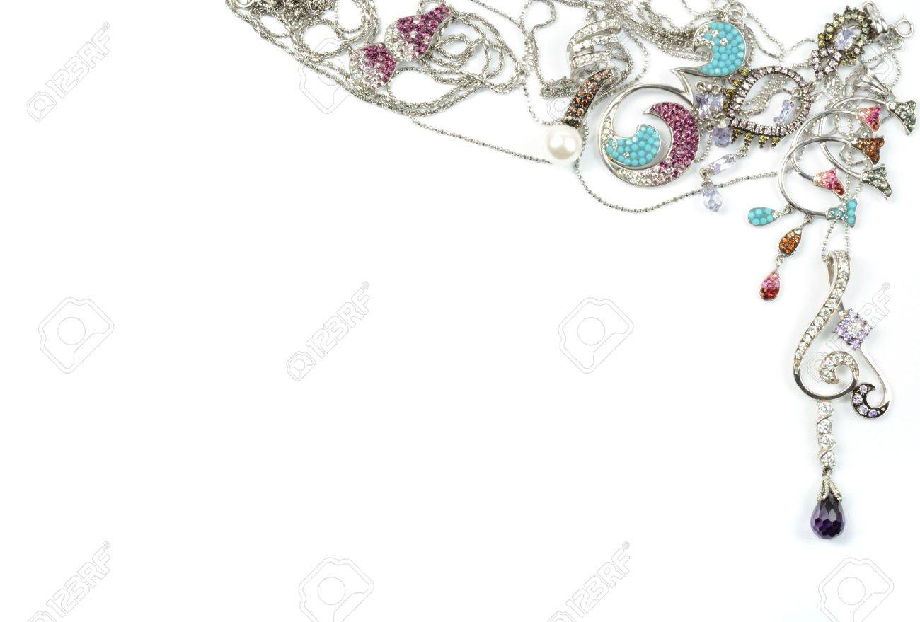 White gold jewelry with jems,  frame on white Stock Photo - 7564447