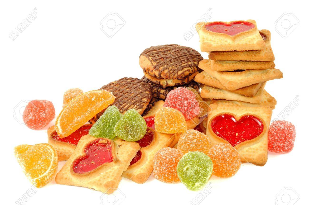 Cookies and jelly candy , on a white background Stock Photo - 9740005
