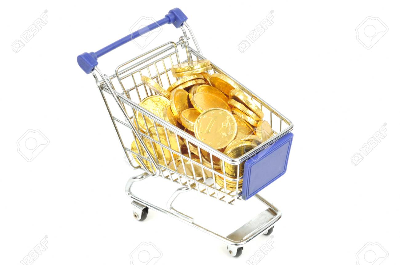Shopping card full of gold euro coins, isolated on a white backgraund Stock Photo - 10329649