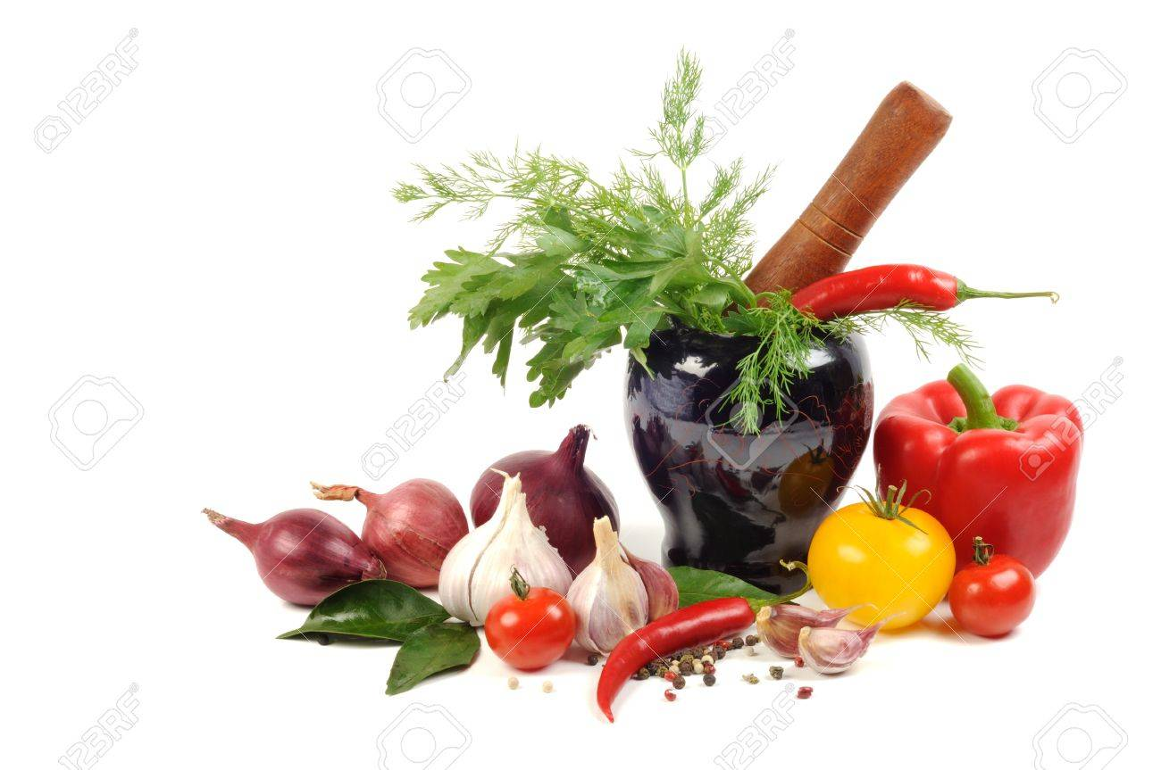 Vegetables and spice, cooking concept, on a white background Stock Photo - 11294159