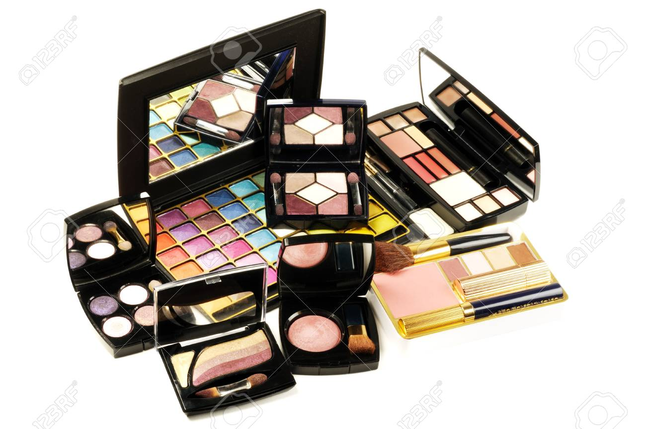 Decorative colorful makeup sets ,on a white background, close up shot Stock Photo - 11806896