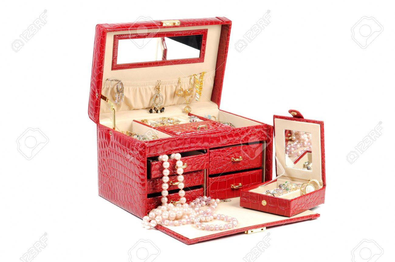 An open jewlery box with gold and platinum  jewelry   on a white background Stock Photo - 12184783