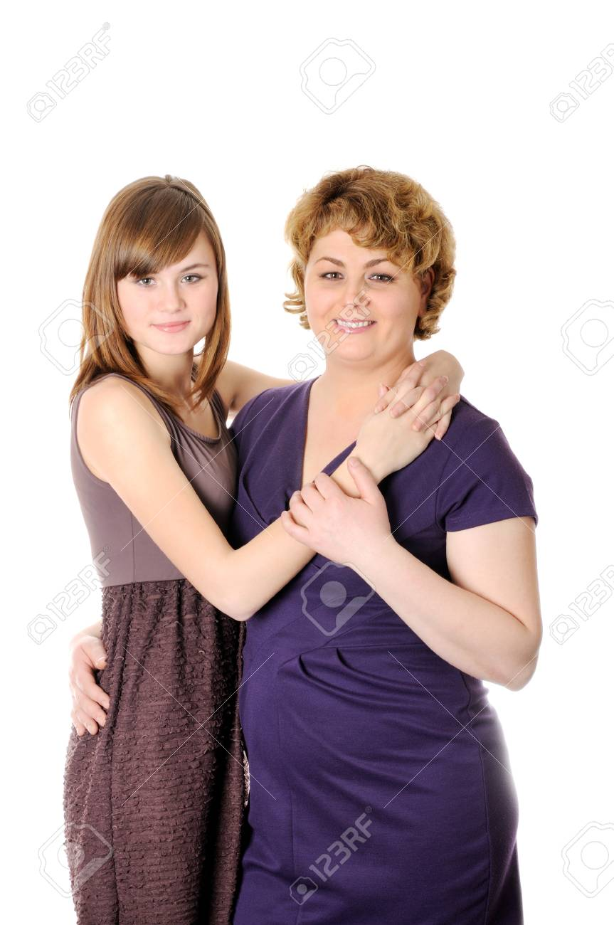 Mom and  doughter  , on a white background Stock Photo - 21462888