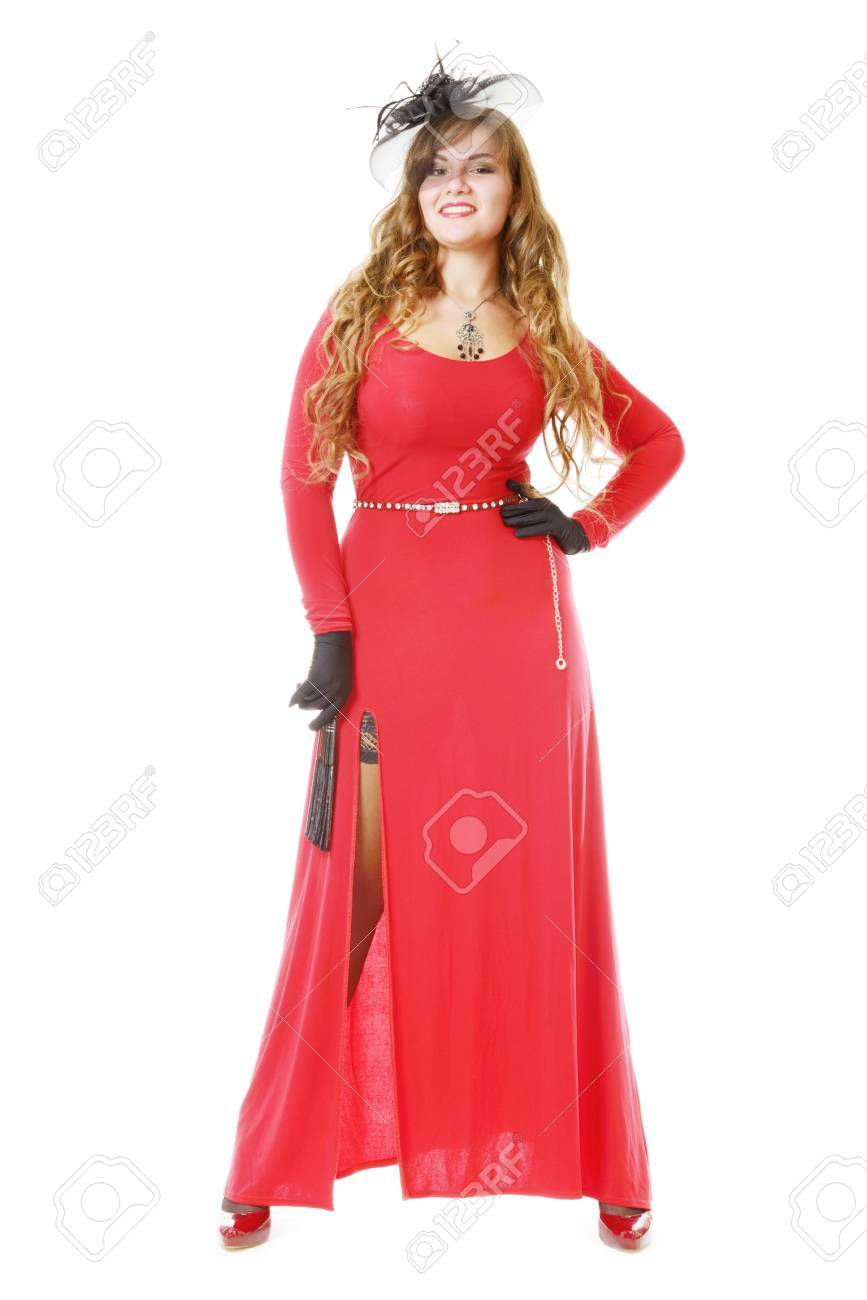 Mooie Rode Jurk.Mooie Vrouw In Rode Jurk Geisoleerd Op Wit Royalty Vrije Foto