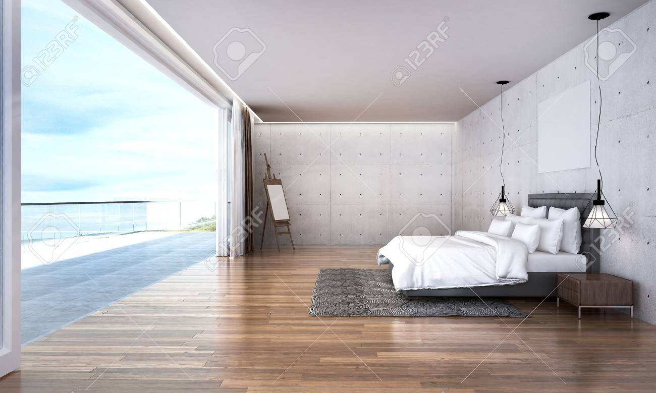 3d Render Bedroom With Sea View Stock Photo Picture And Royalty