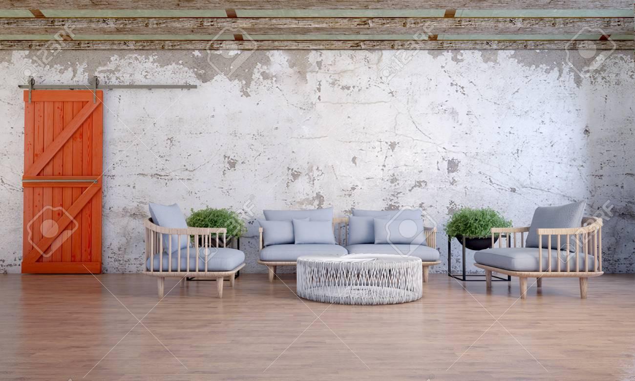 Loft design de salon et un canapé bleu banque d images et photos