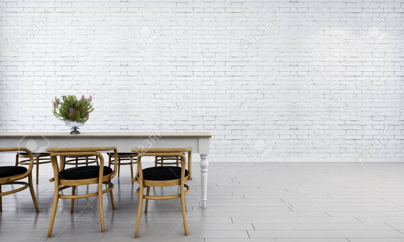 Minimal Dining Room And White Brick Wall Stock Photo Picture And Royalty Free Image Image 74953610