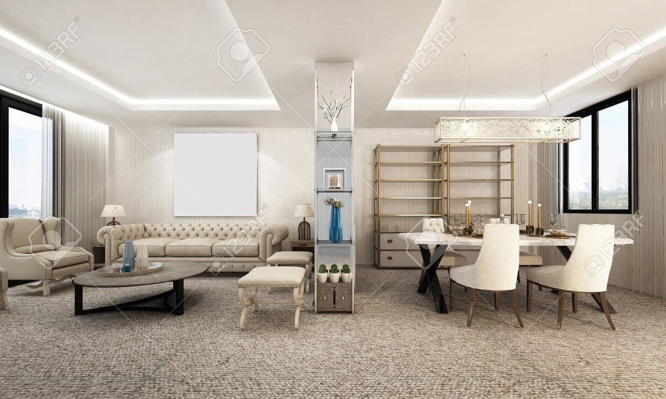 Lusso Soggiorno E Sala Da Pranzo Design Foto Royalty Free, Immagini ...
