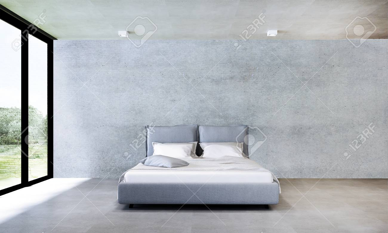 The Interior Design Of Minimal Bedroom And Concrete Wall Stock Photo Picture And Royalty Free Image Image 78130756