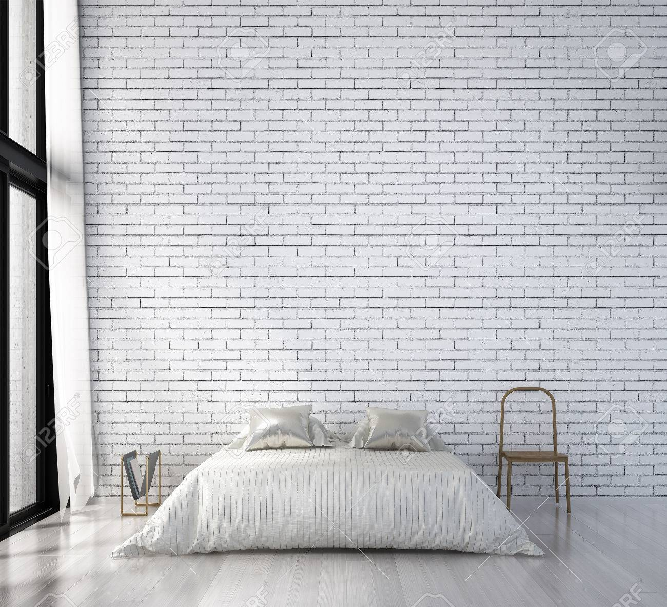 The Minimal Bedroom Design And White Brick Wall Stock Photo Picture And Royalty Free Image Image 79857449