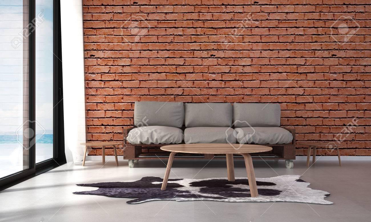 Diseño de escena interior de renderizado 3D de living comedor y vista al mar