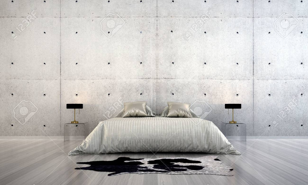 Stock Photo - The interior design of minimal bedroom design and concrete wall texture & The Interior Design Of Minimal Bedroom Design And Concrete Wall ...
