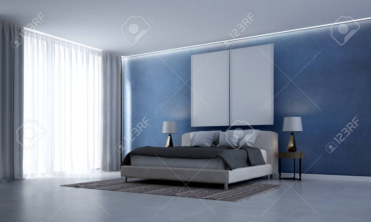The d rendering interior scene of modern bedroom design and blue
