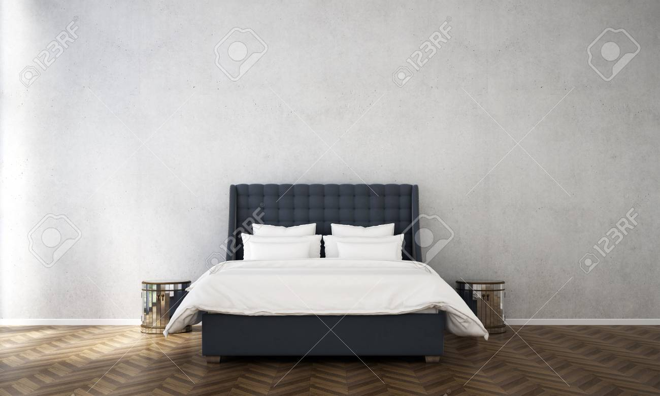 Interiors Design Of Minimal Bedroom And Wall Pattern Background