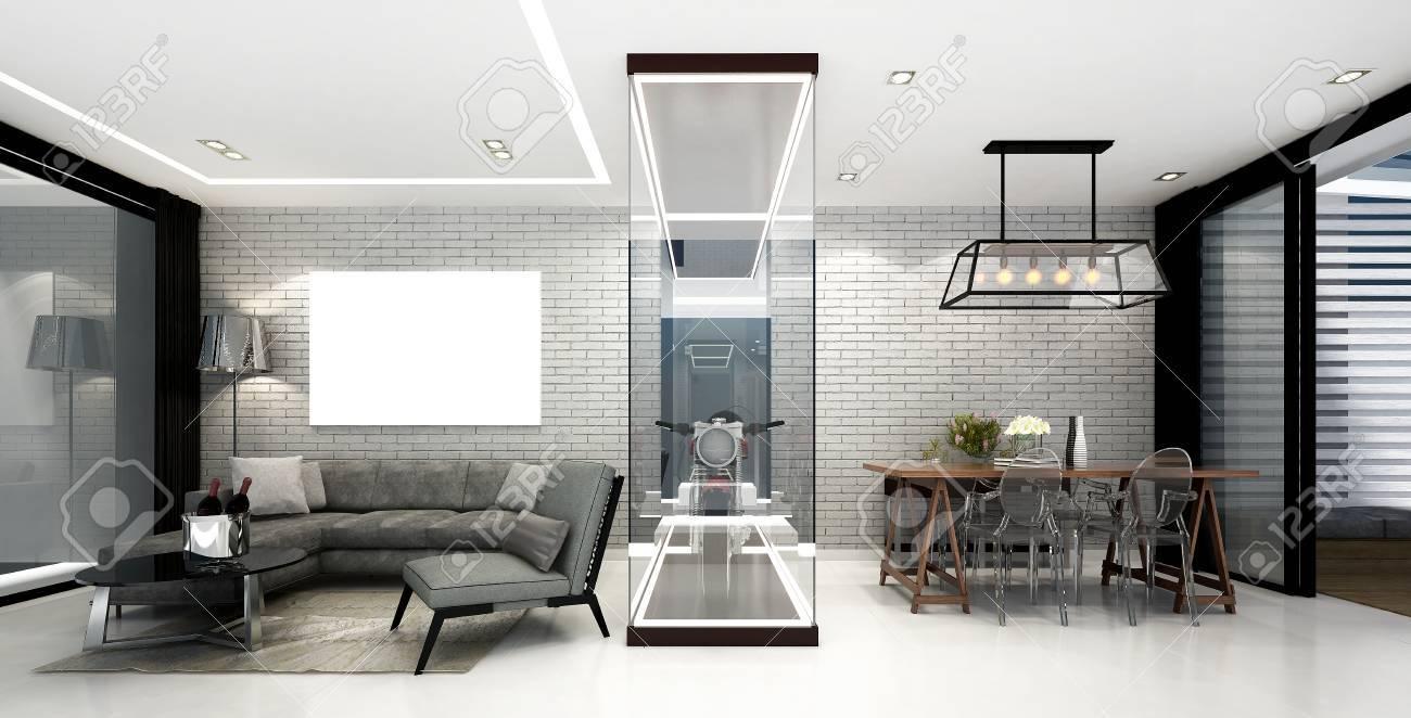Procesamiento de 3D diseño de interiores de moderna sala de estar y comedor