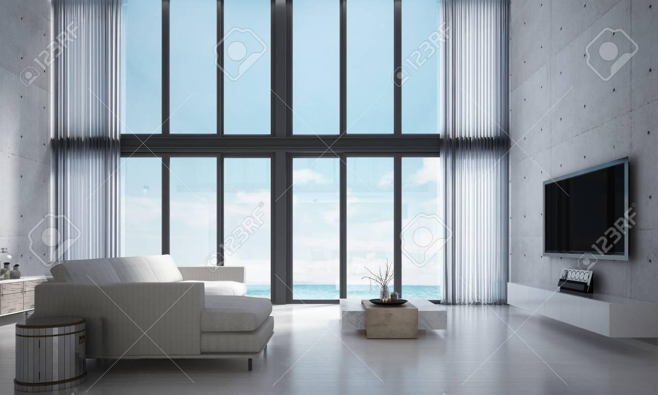 La Representación 3D Diseño Interior De Salón Y Sala De Estar Y ...