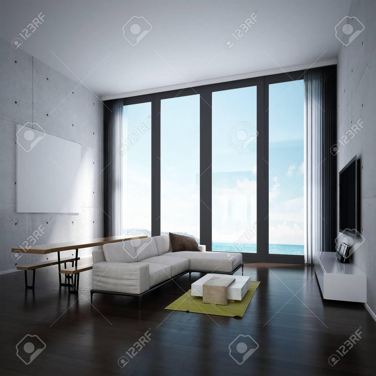 Die Lounge Und Wohnzimmer Und Küche Interior Design Und Betonwand ...