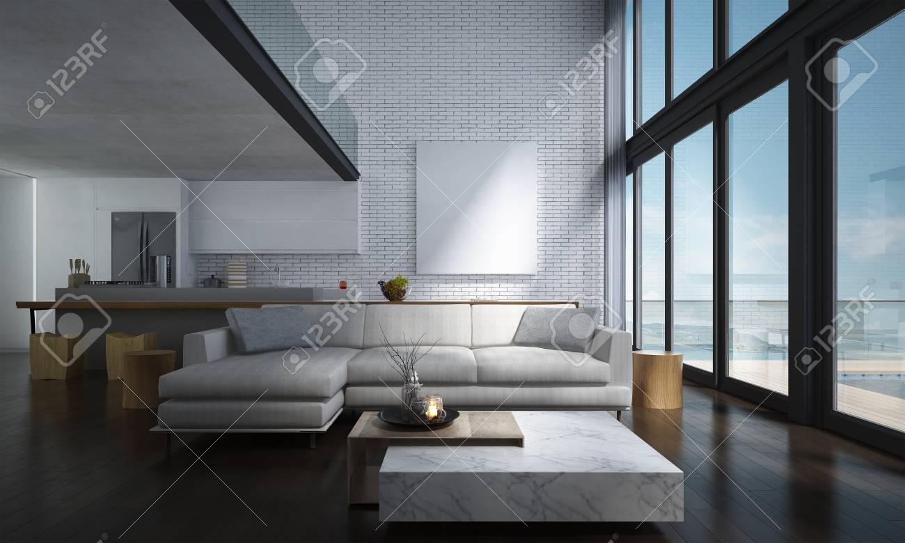 Die lounge und doppelter raum wohnzimmer und küche interior design