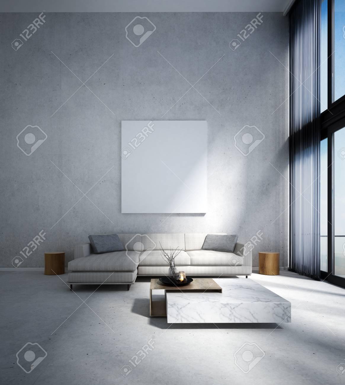 Le salon moderne et le double espace salon design intérieur et fond de mur  en béton