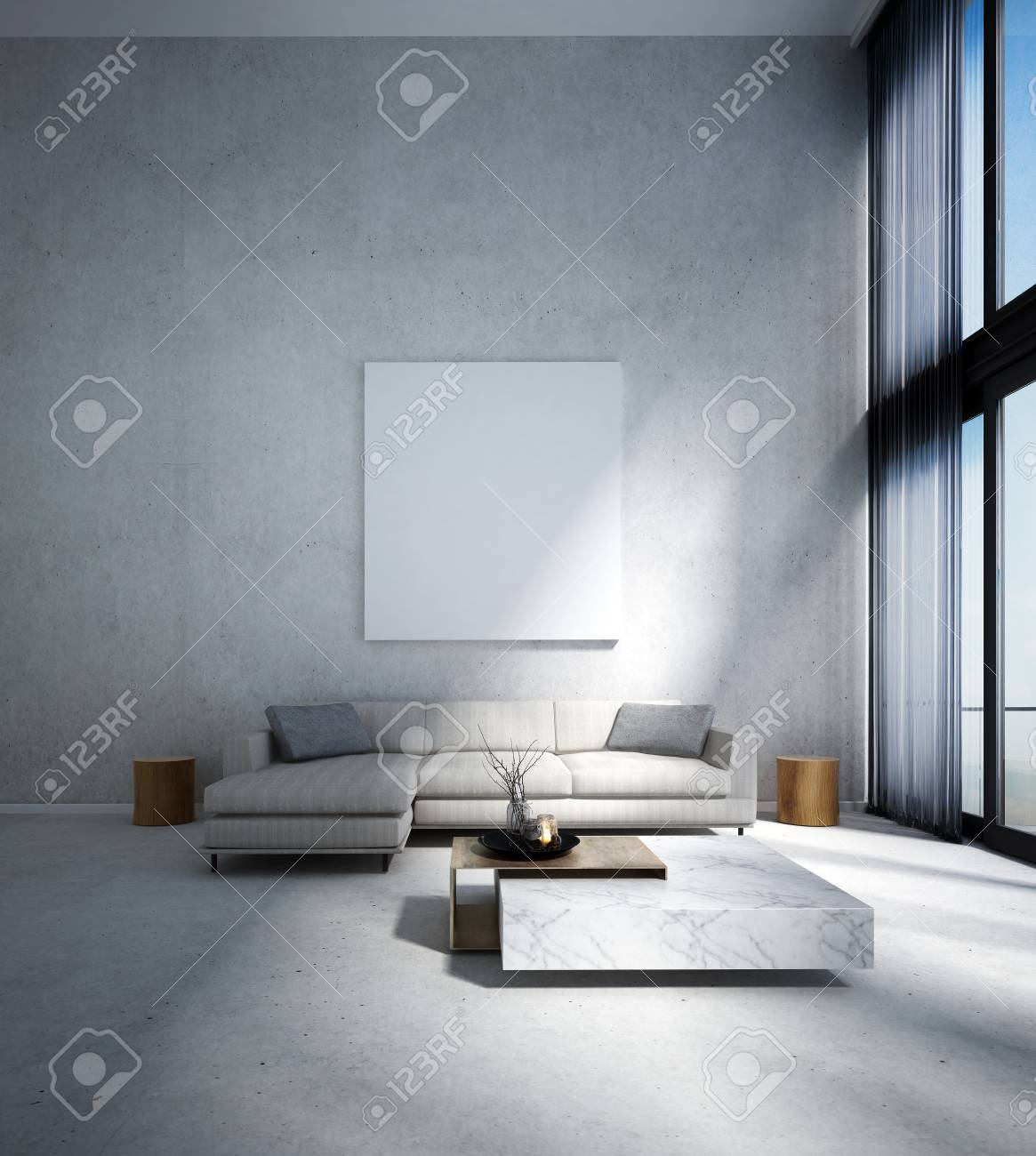 . The modern lounge and double space living room interior design