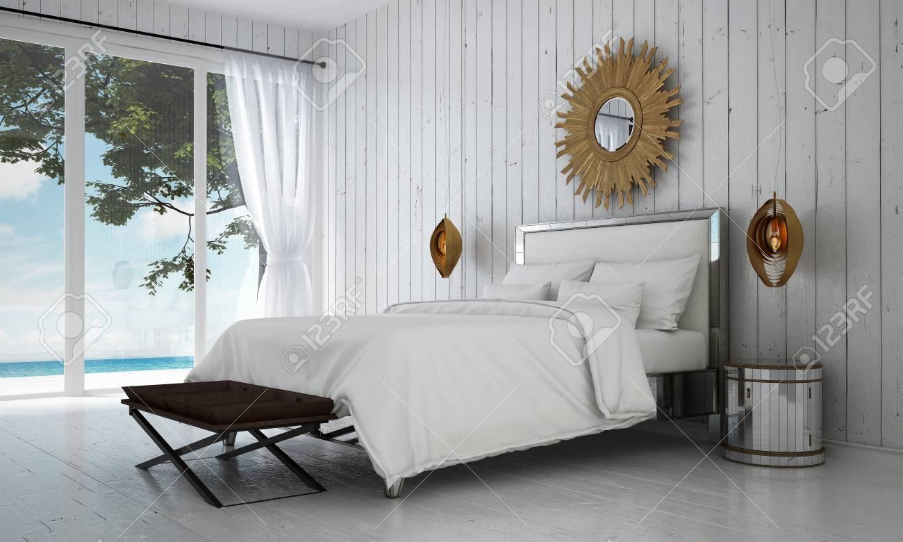 Die Luxusvilla Weiße Schlafzimmer Innenarchitektur Und Holz Wand ...