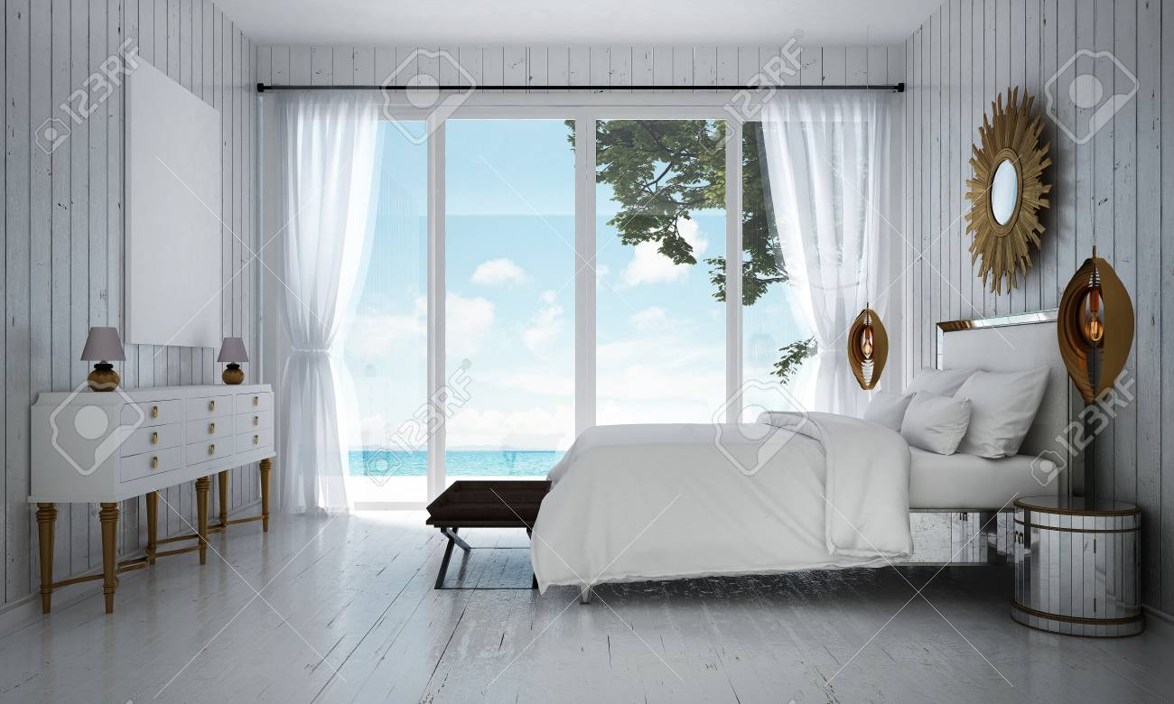 The Luxury Villa White Bedroom Interior Design And Wood Wall Stock Photo Picture And Royalty Free Image Image 85181268