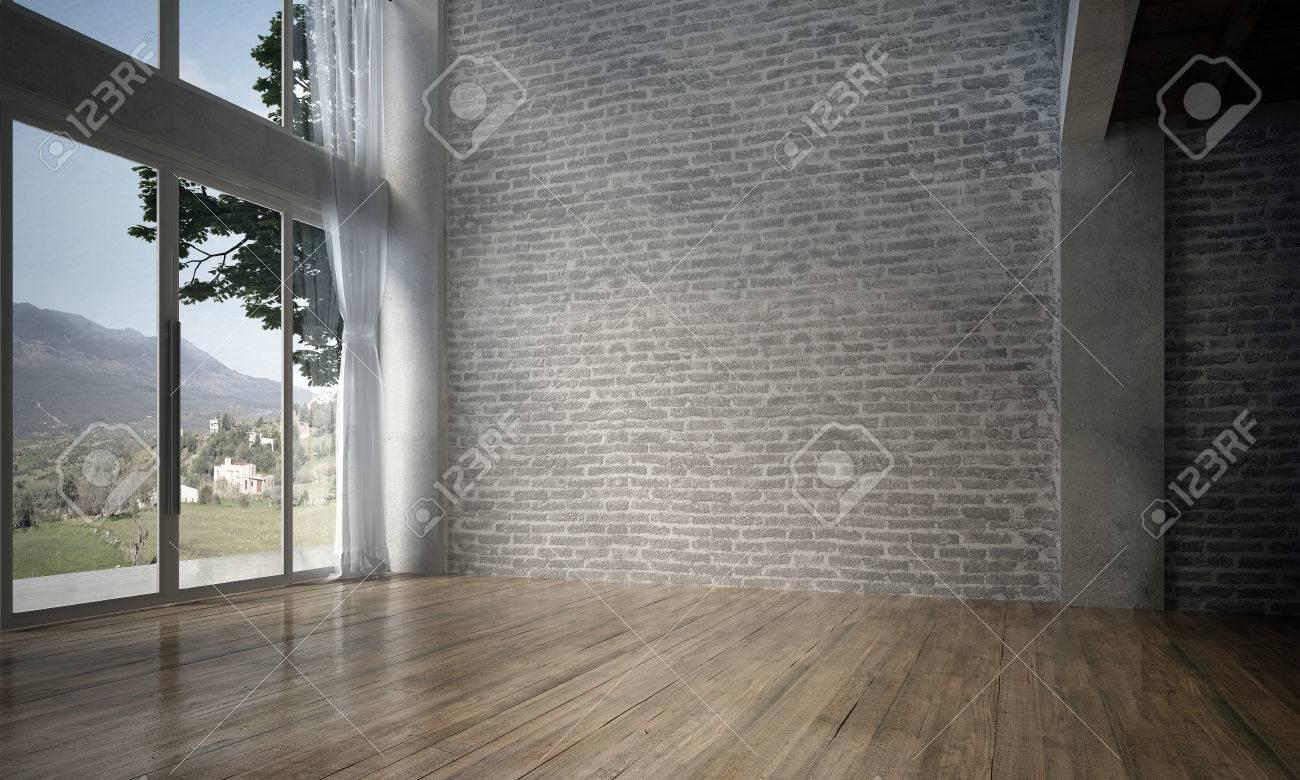 3d Woonkamer Ontwerpen : Het interieur van de hal en woonkamer en bakstenen textuur d