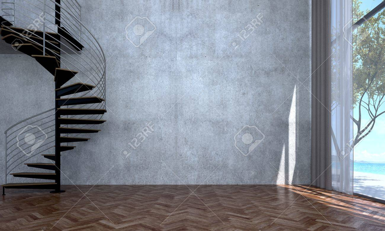 The Interior Design Of Empty Loft Living Room And Concrete Wall ...