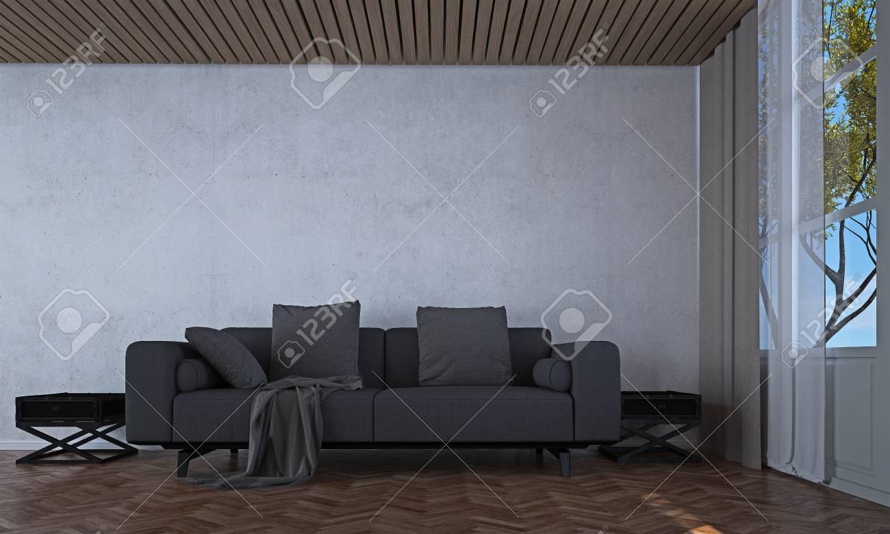 La Conception Intérieure De Salon Et Salon De Style Moderne Et Mur ...