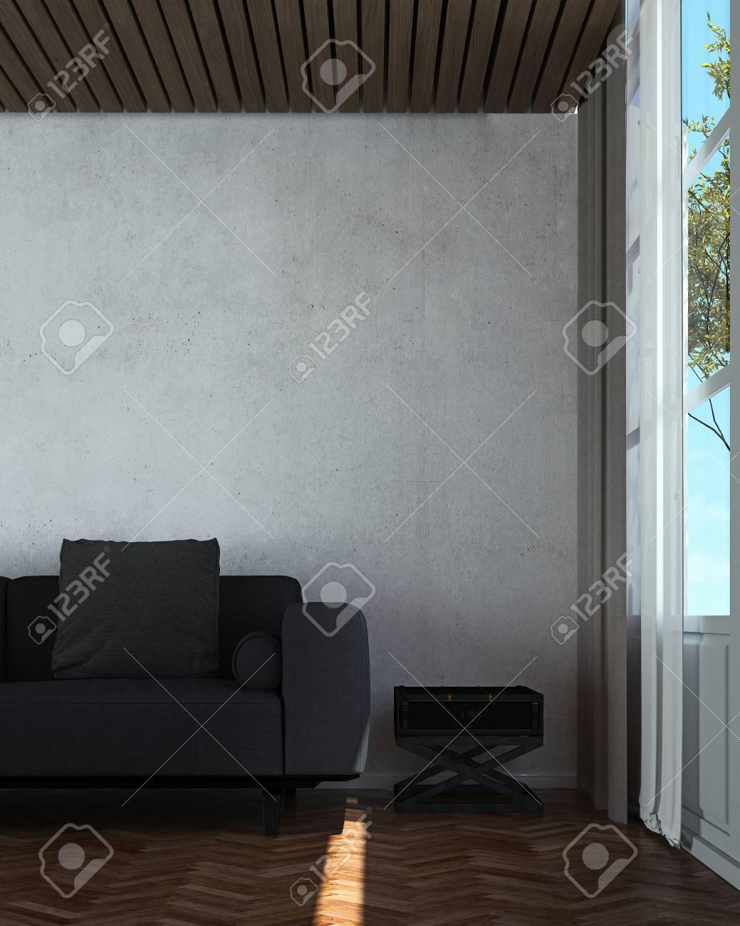 Le design intérieur du salon et du salon style moderne et fond de mur en  béton