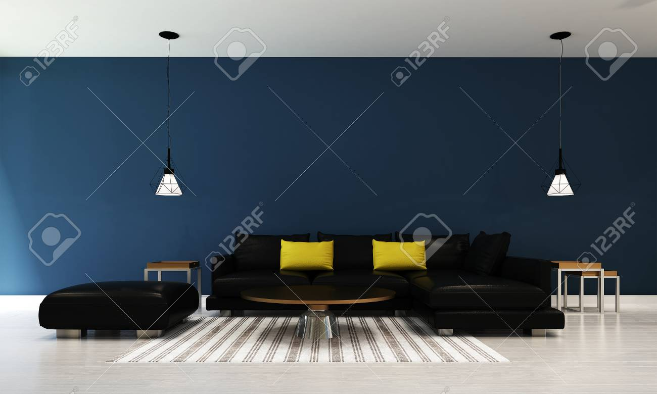 3d Woonkamer Ontwerpen : Het binnenlandse ontwerp van woonkamer en blauwe muurtextuur 3d