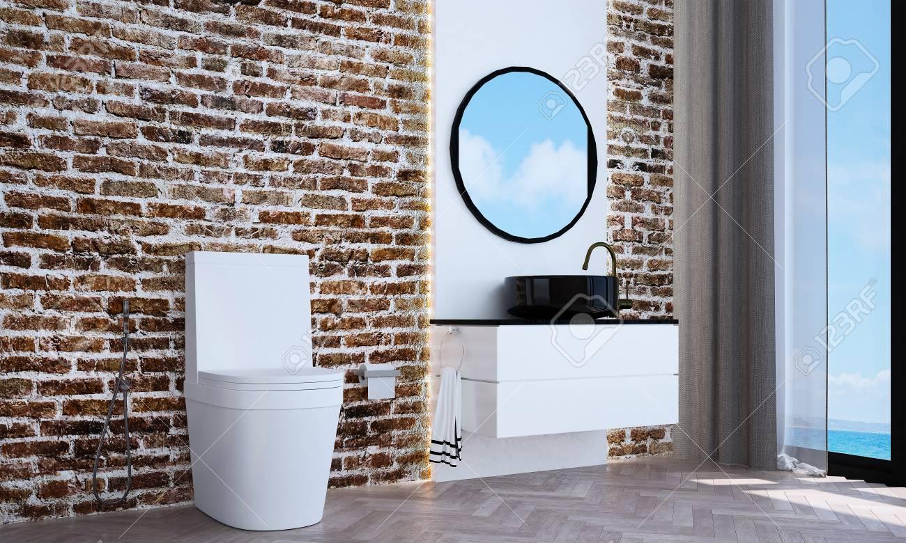 Il design d\'intérieur salle de bain moderne et fond de texture de mur de  brique et vue sur la mer