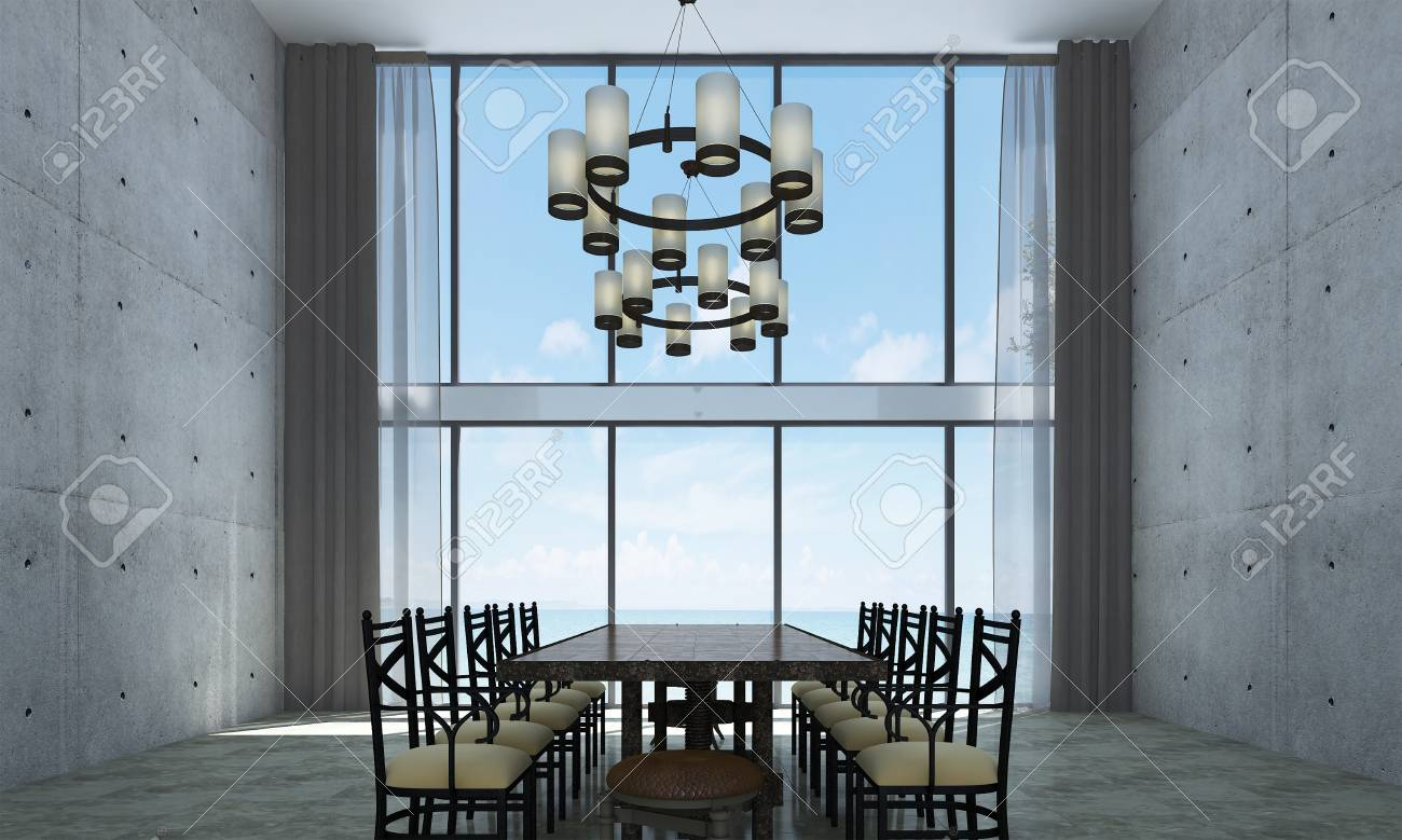 L Idee De Design D Interieur De Salle A Manger Et De Mur En Beton Et Vue Sur La Mer