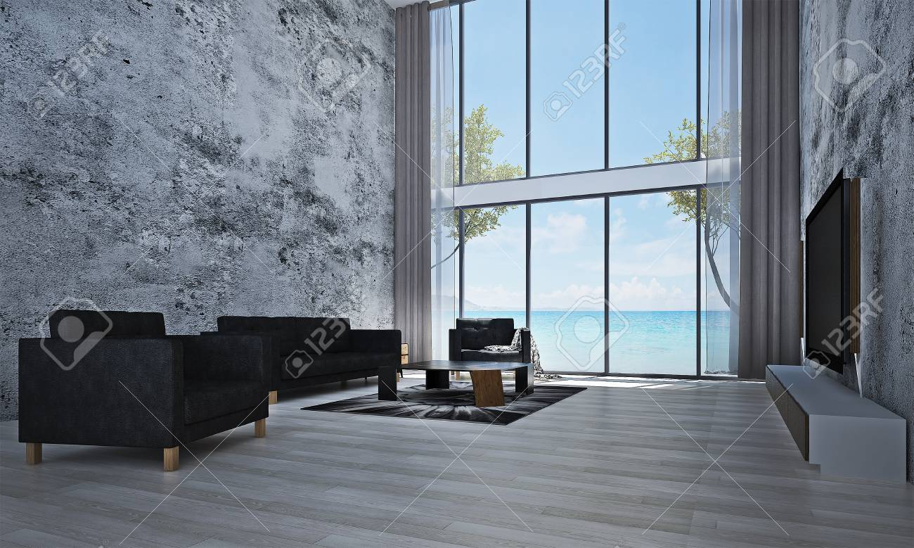 Stock photo the interior design idea of lounge and living room and concrete wall and sea view and lcd tv