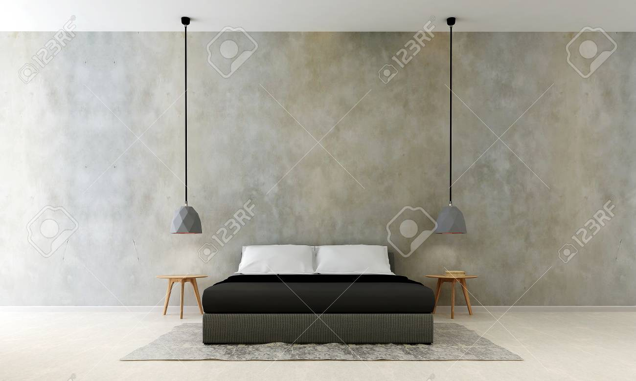 The Interiors Design Of Modern Bedroom And Wall Paint Texture Stock Photo Picture And Royalty Free Image Image 90164450